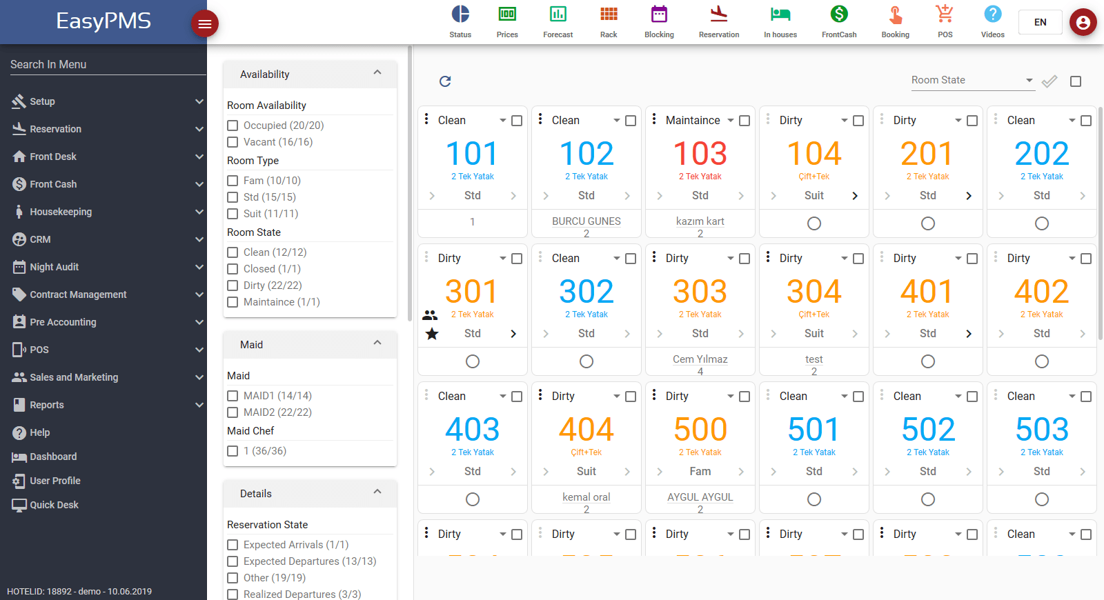 Hotel Management Software - Room Rack