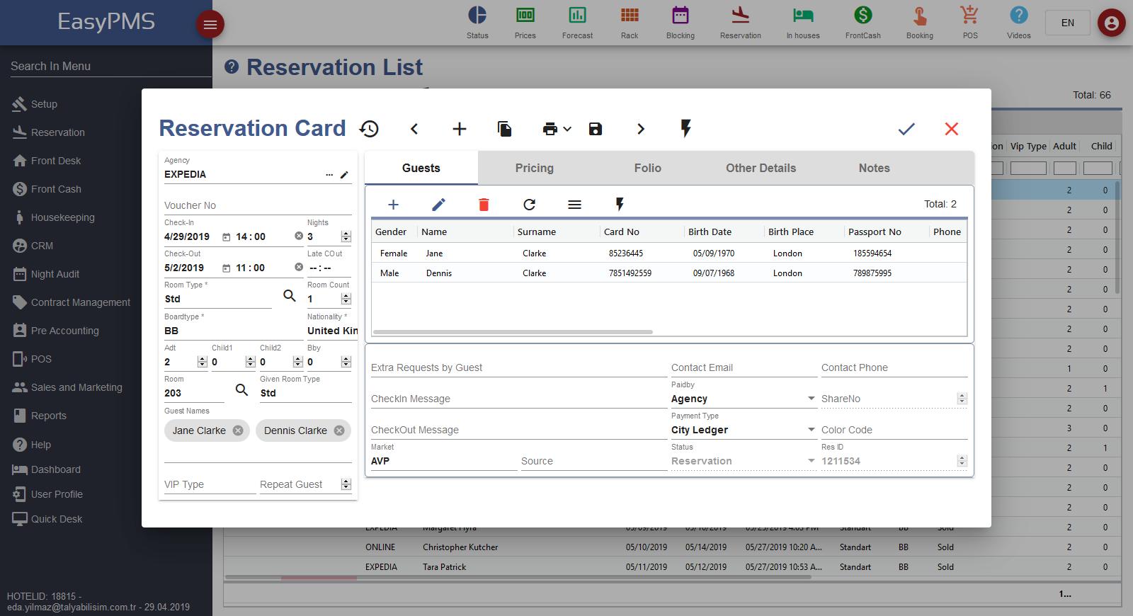 hotel management software - reservation card