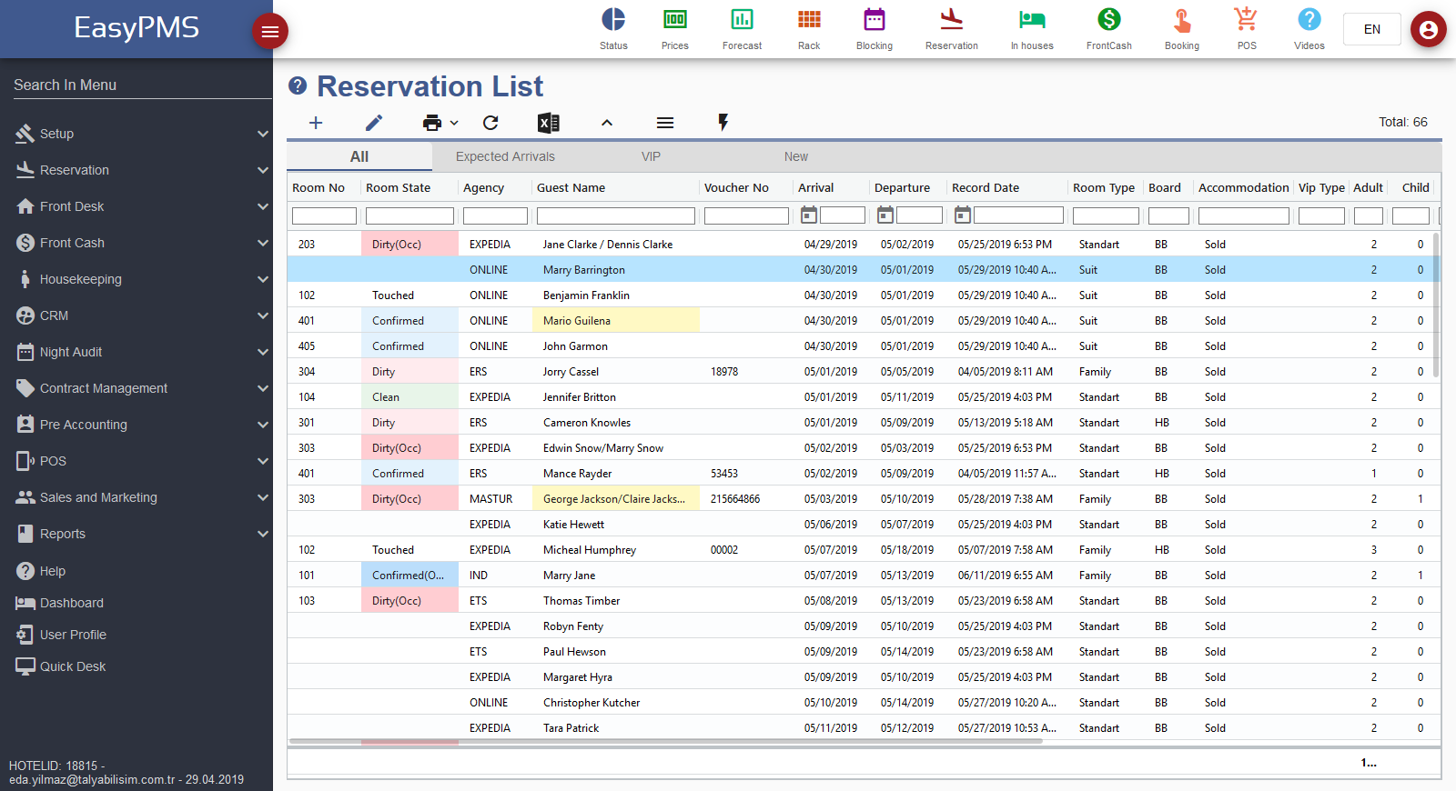 hotel management software - reservation list