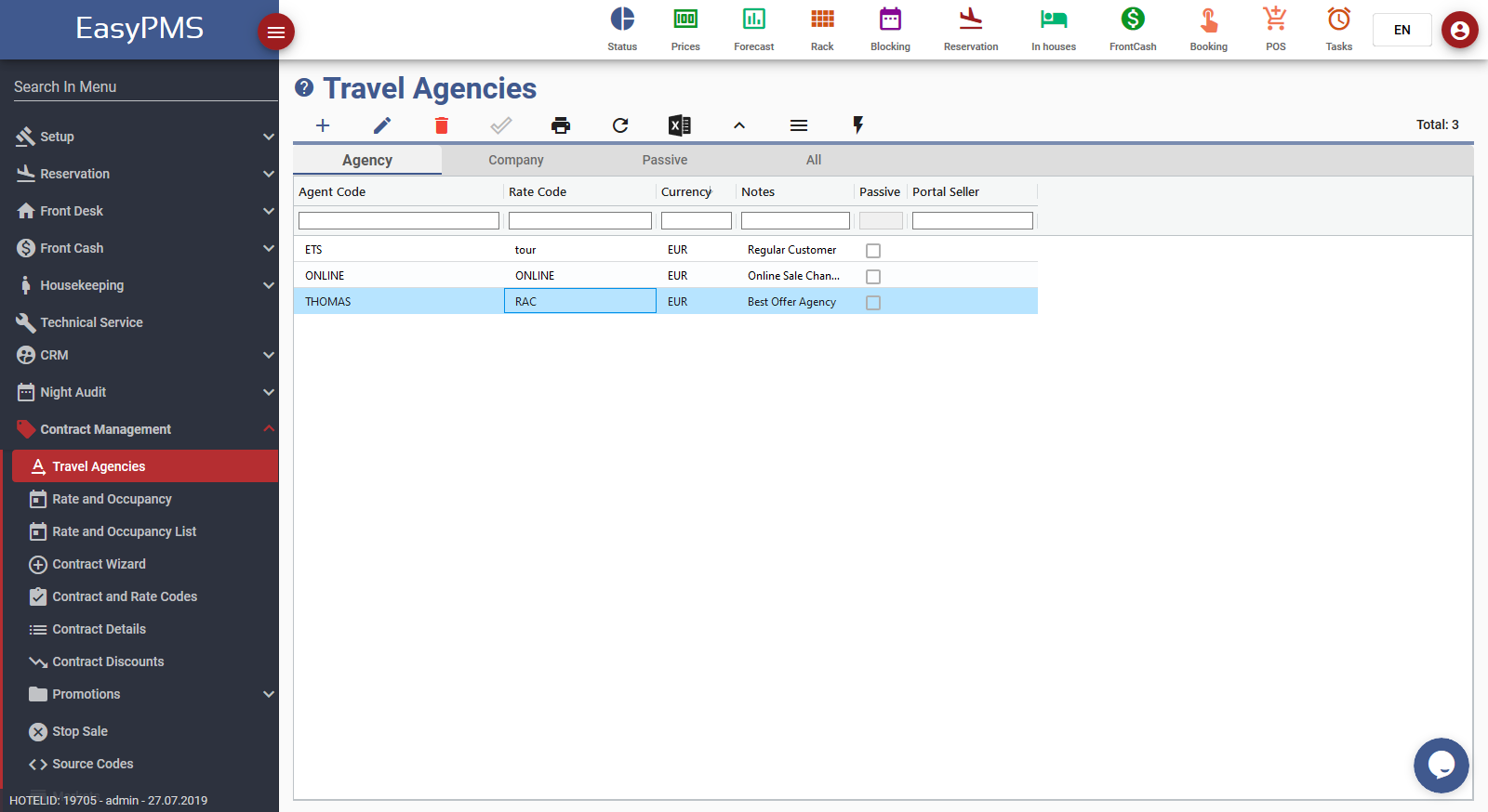 easypms travel agencies contract management