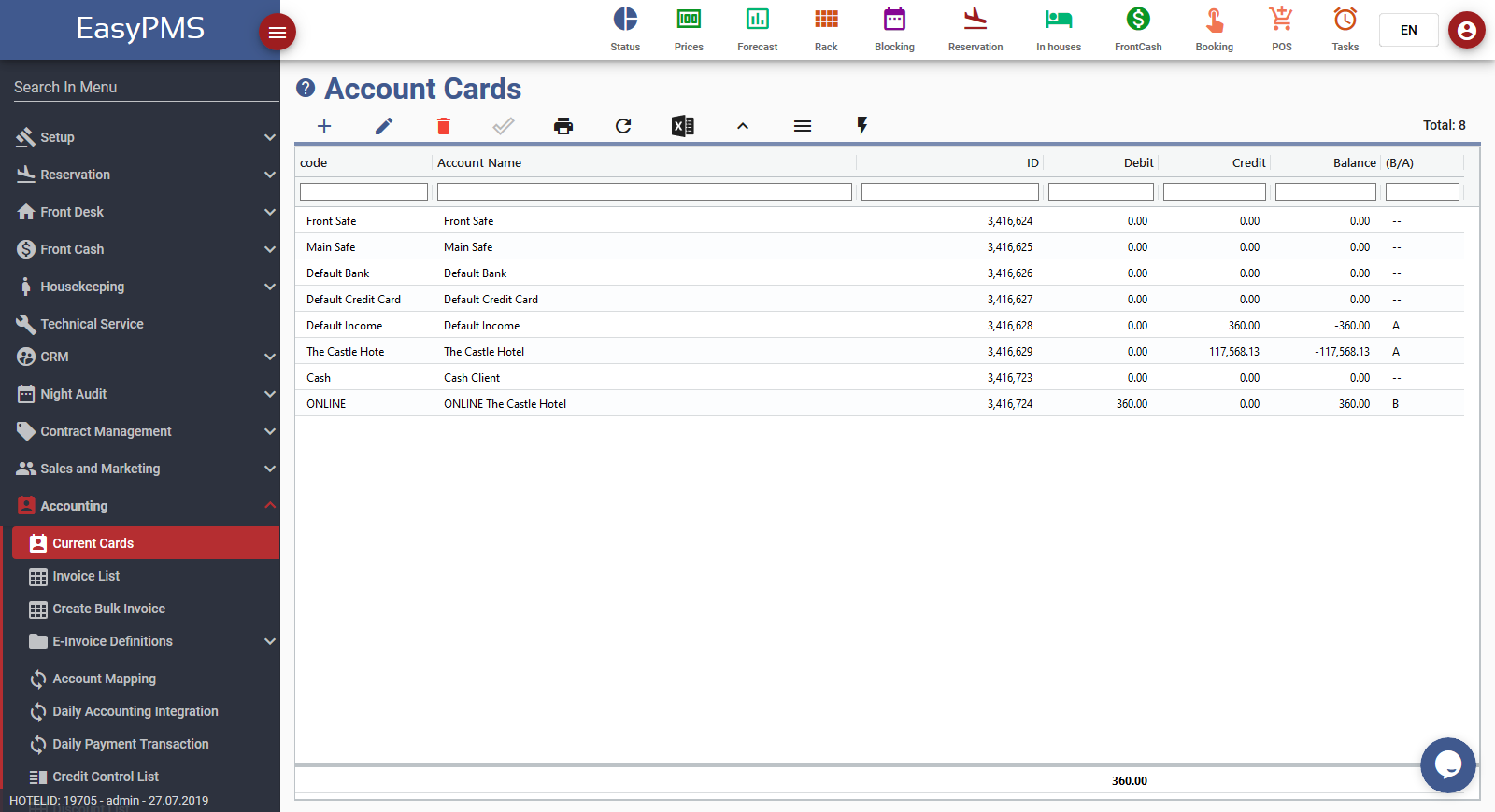 easypms hotel software account cards