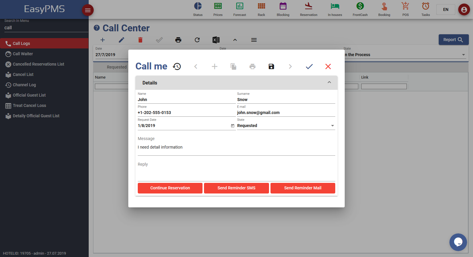 easypms hotel software crm call center