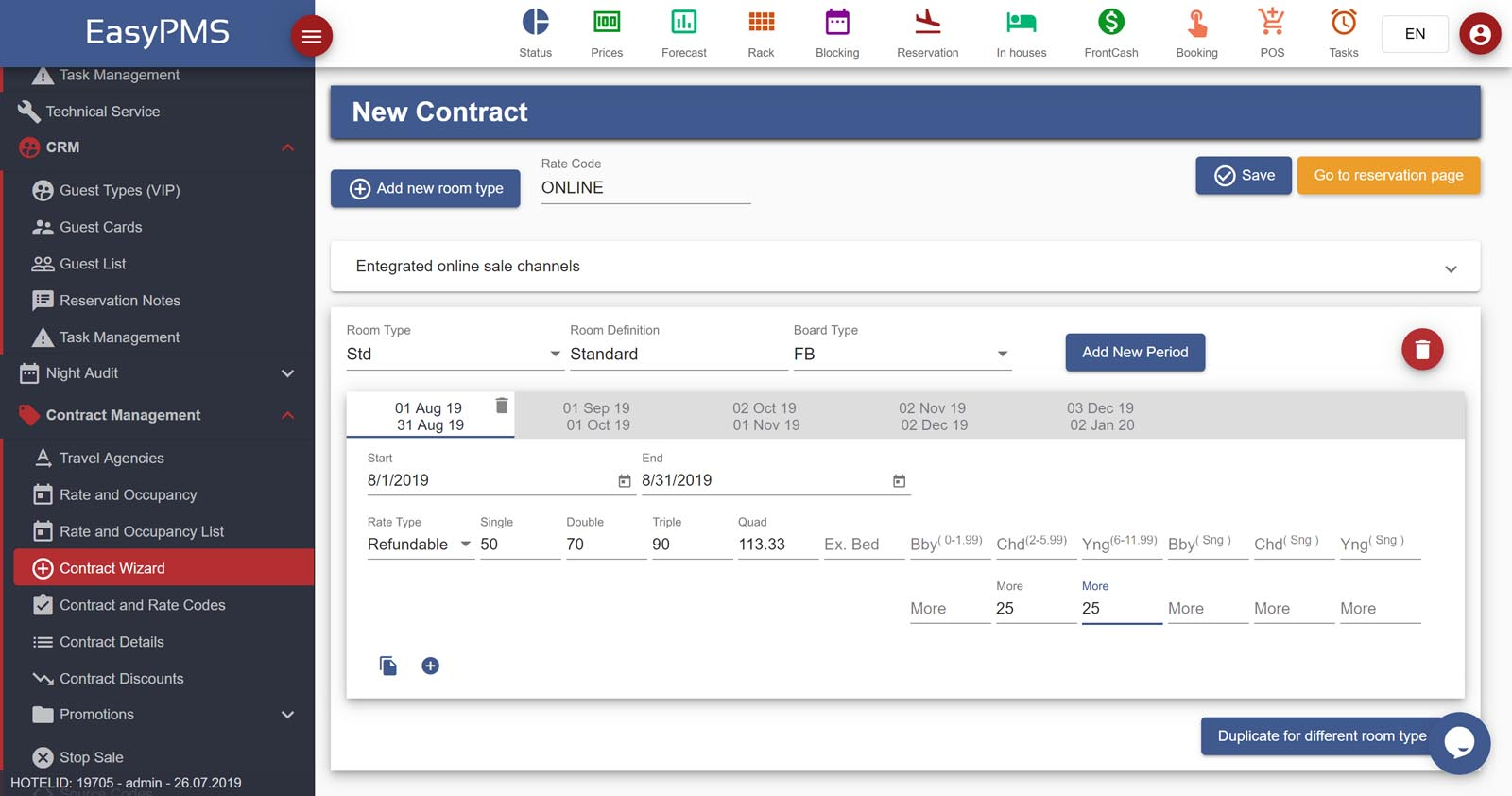 easypms hotel software contract wizard