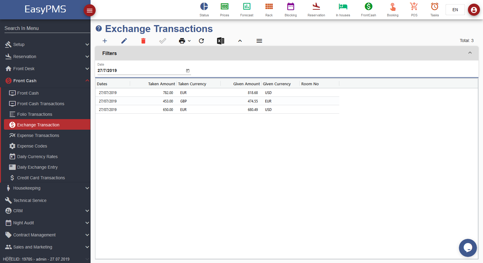 easypms front cash exchange transactions