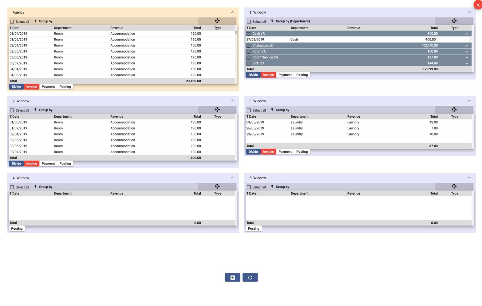 easypms hotel software folio screen