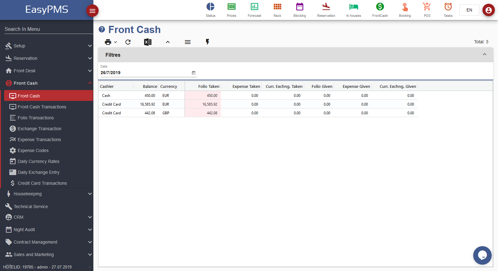 easypms hotel software front cash