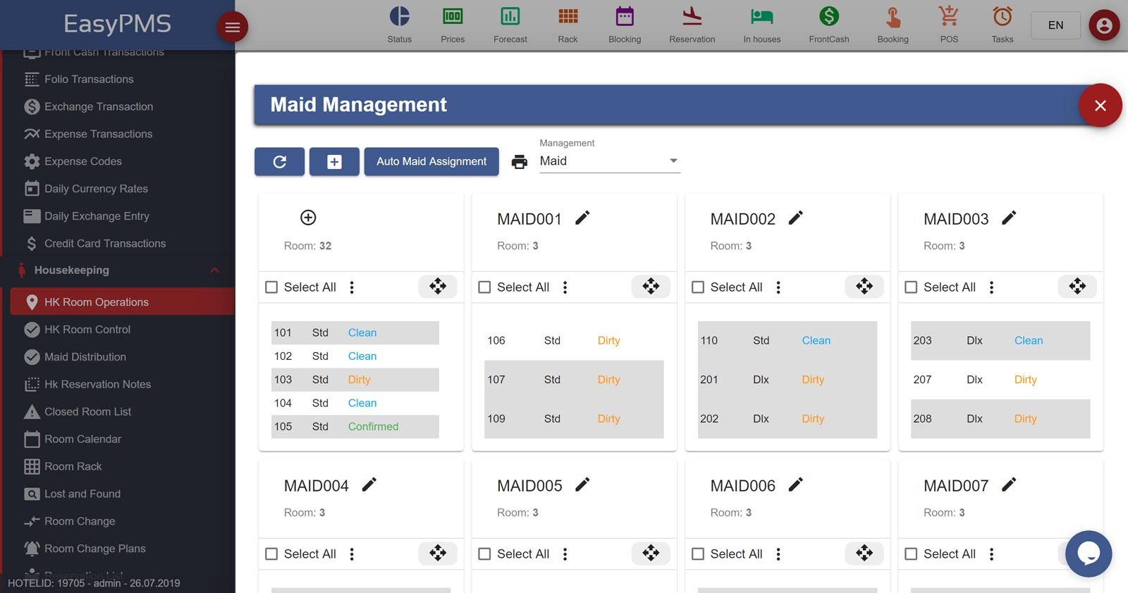 easypms hotel software housekeeping maid management