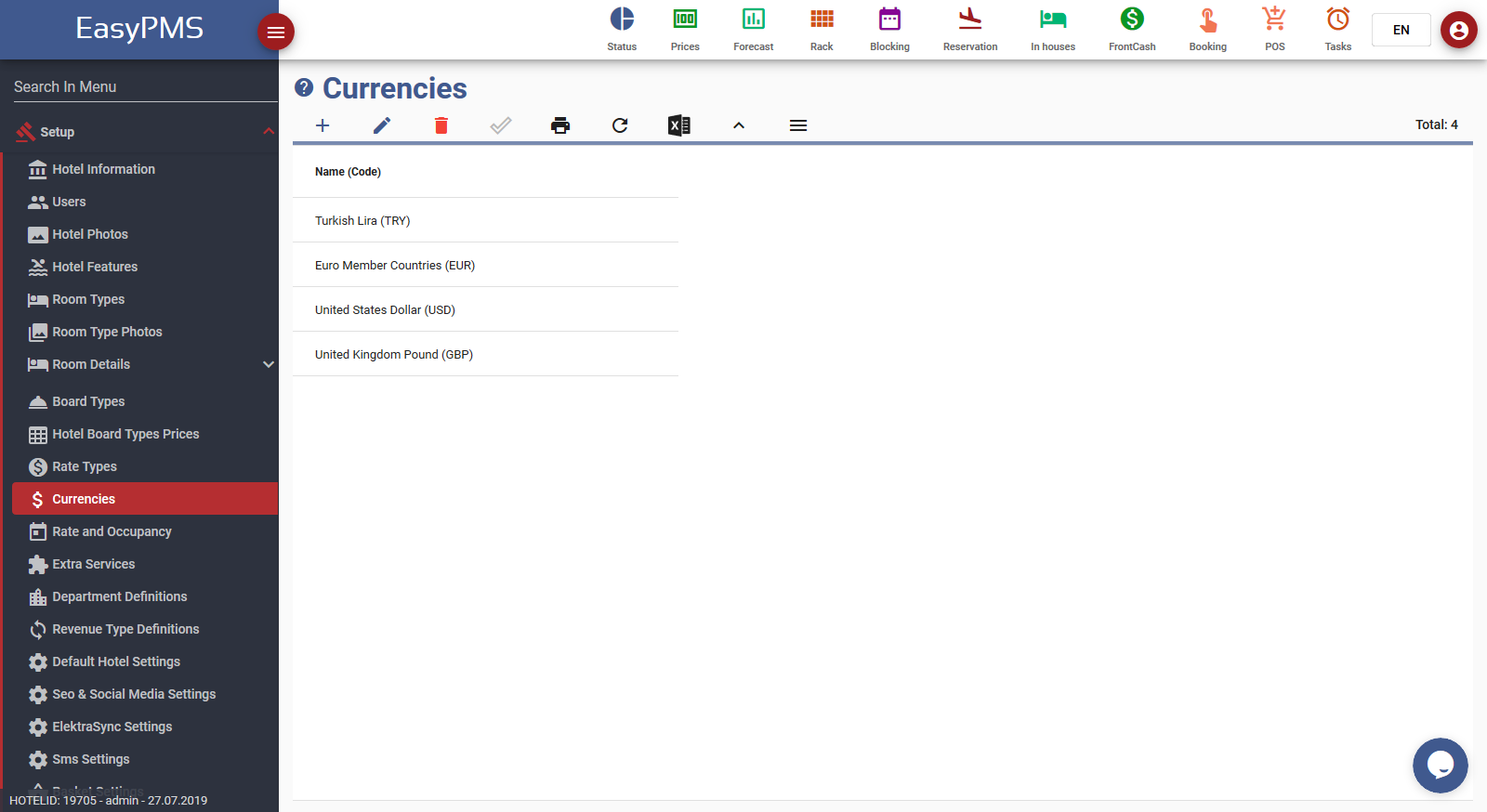 easypms Hotel Software Currencies screen