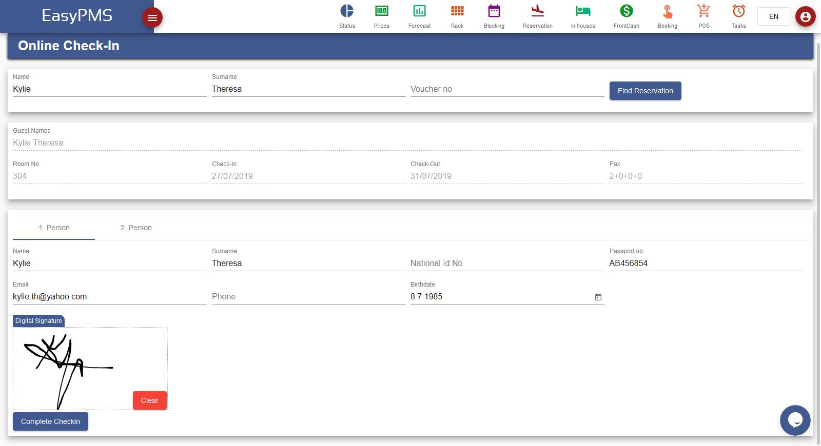 easypms hotel management online checkin