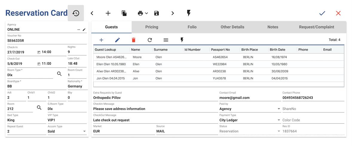 easypms hotel management software Reservation card