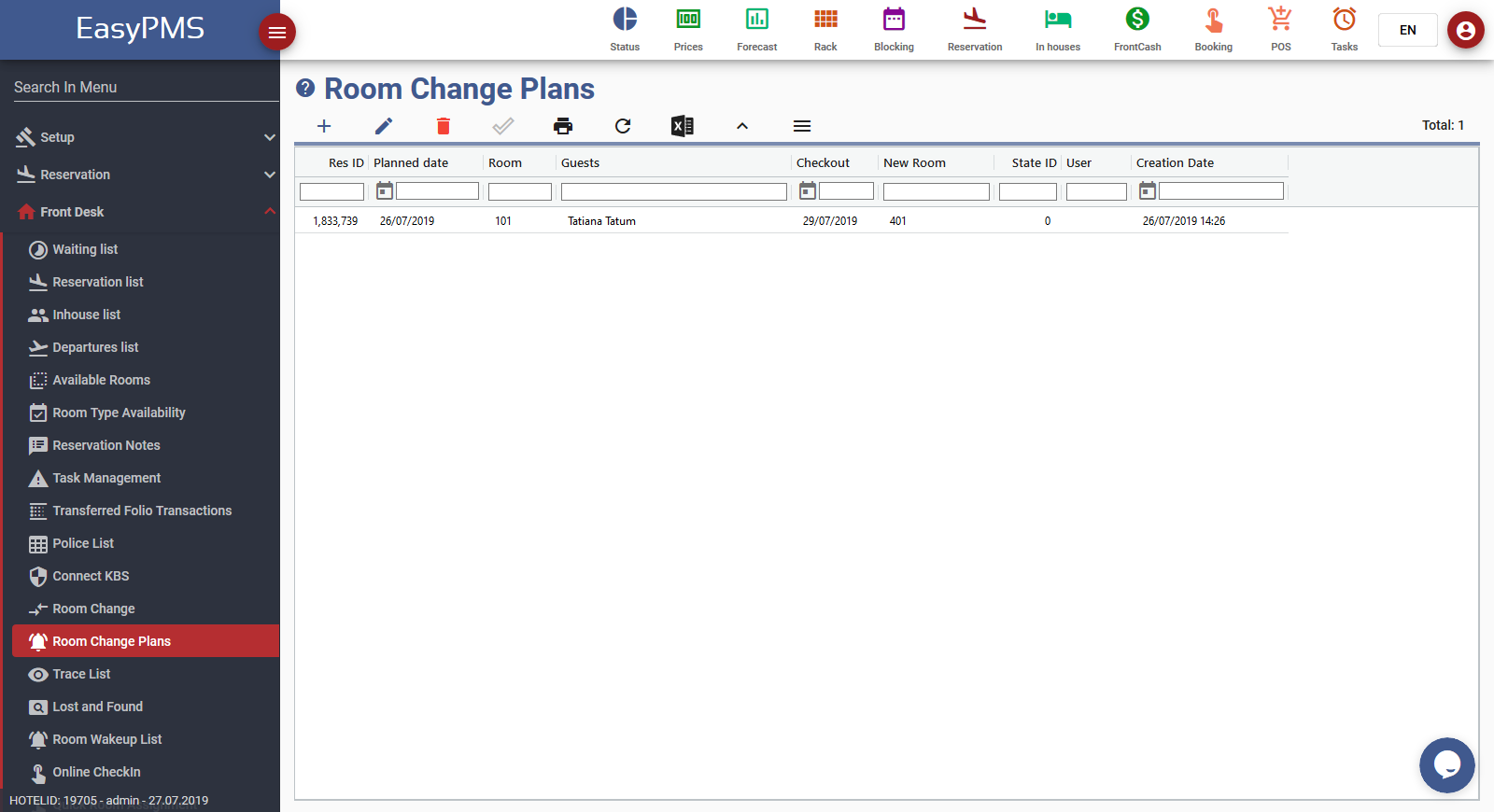 easypms hotel software room change plans