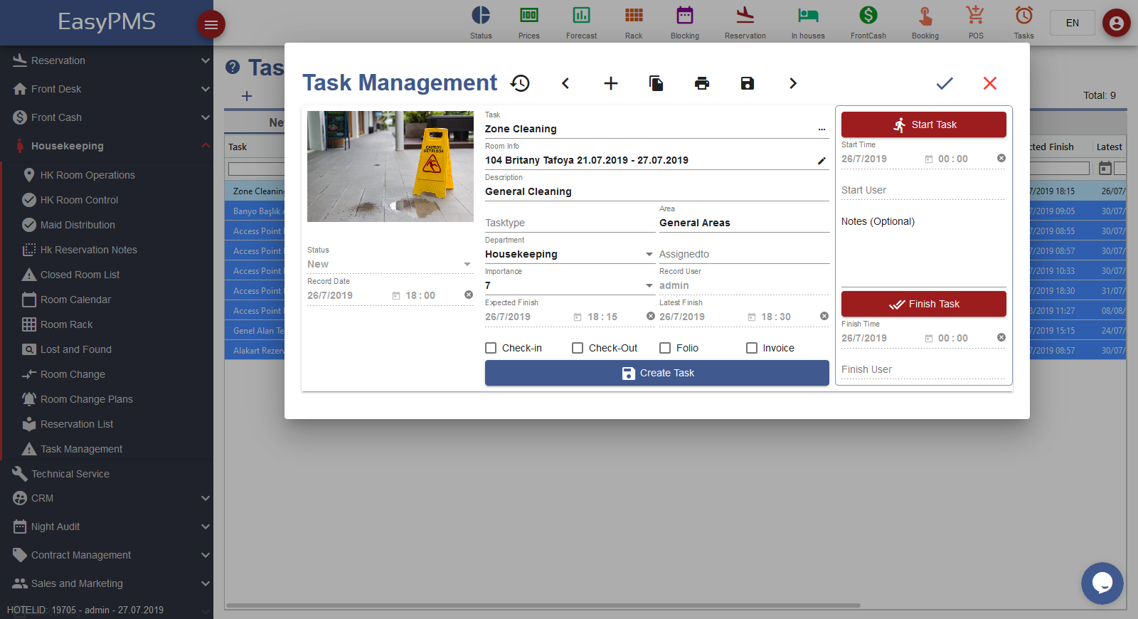 easypms hotel software task management