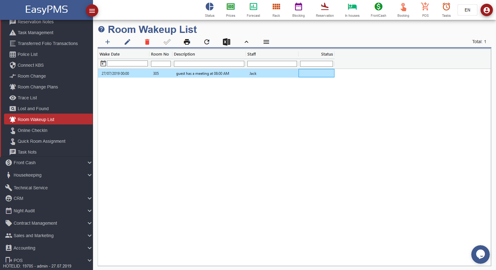 easypms hotel software room wake up list
