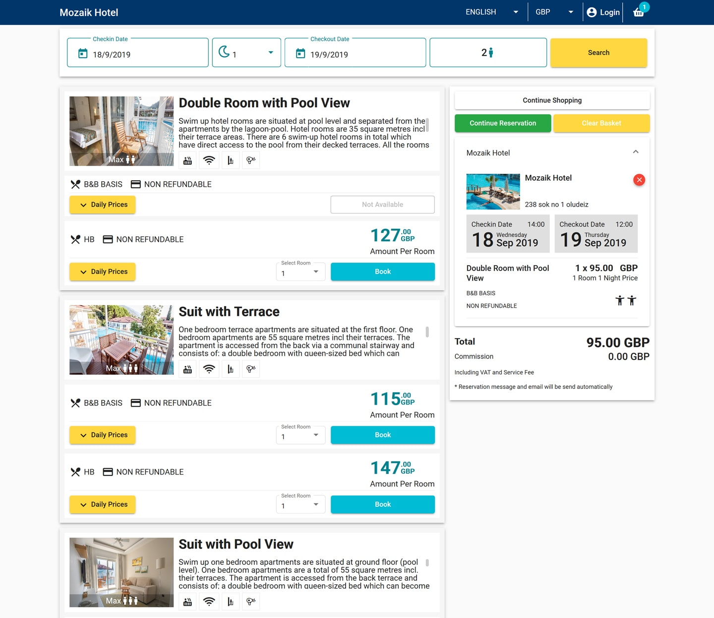 easypms Hotel Software Booking engine