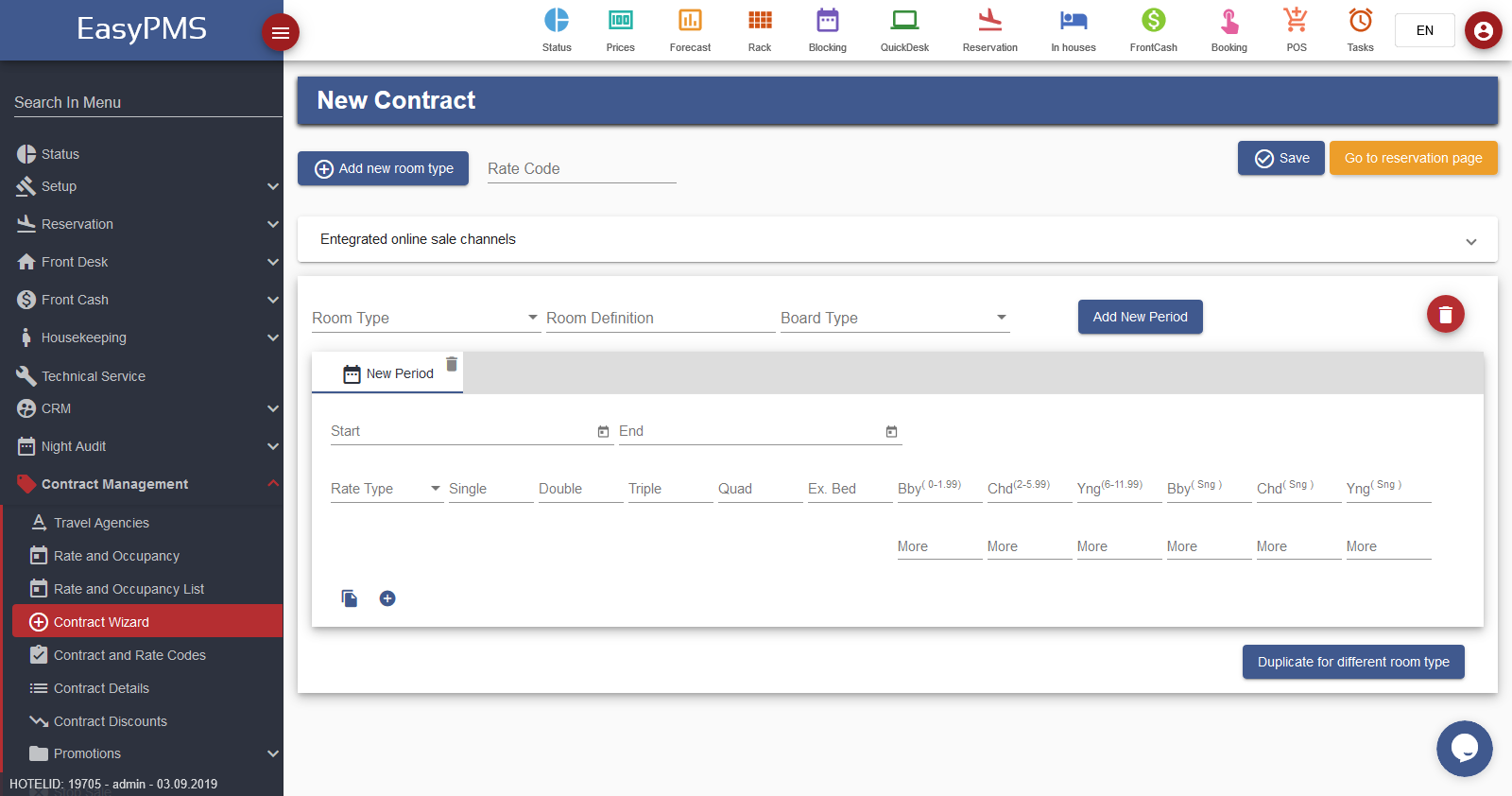 easypms Hotel software Contract Management