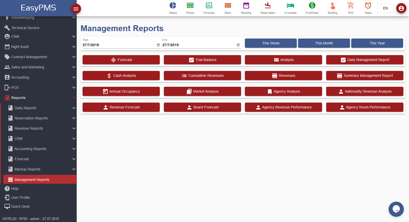 easypms Hotel software Management Reports